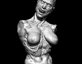 Zombie girl 3d print for Halloween bust