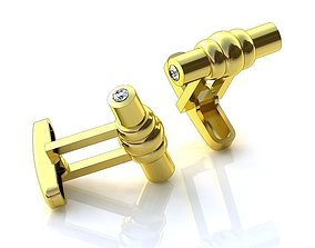Golden Cufflinks BZ008 3D model
