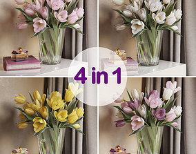 Tulip Flowers 4 in 1 3D model VR / AR ready