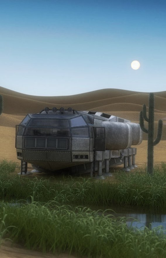 Futuristic Freighter in Desert (Blender Cycles 2011)