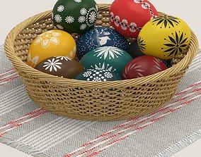 resurrection 3D Easter eggs and basket