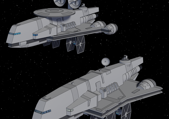 Gozanti-class Cruiser and Jammer - Star Wars - Fan Art