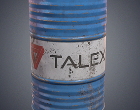 Oil barrel container 3D asset game-ready PBR