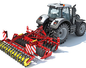 3D model Tractor with Compact Disc Harrow