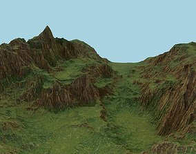 3D model Tileable green valley with red rocks landscape