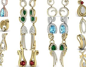 300 Women earrings 3dm render detail bulk collection