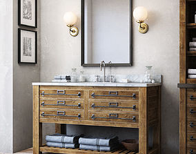MERCANTILE EXTRA-WIDE SINGLE VANITY SINK 3D