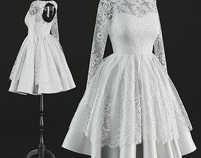 3D Short wedding dress