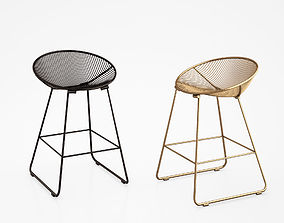 Pop kitchen counter stool in black and gold 3D model