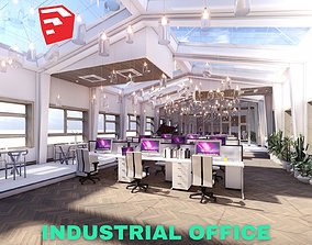 Industrial Office on Attic with Skylights Scene - 3D model