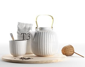 Hammershoi Tea Set with Bamboo Strainer 3D model