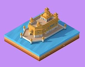 3D asset Cartoon Lowpoly Golden Tempe Landmark