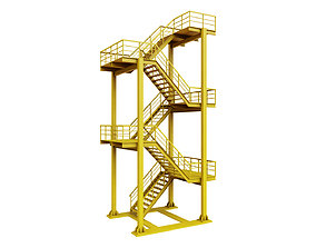 Yellow Industrial Stair 3D model low-poly