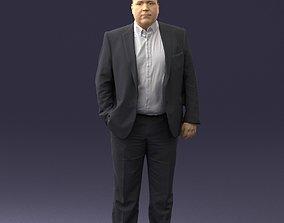 3D Fat man gray suit 0517