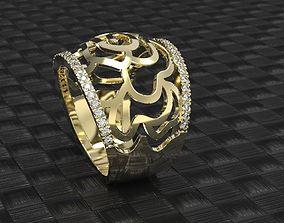 Gold rose ring 3d print model Unique flower ring stl 3dm