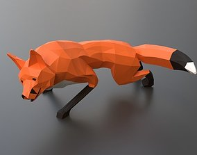lowpoly red fox 3D asset