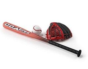 Baseball Elements Bat Ball Glove 3D model