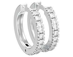 3D printable model Prong-set hoop earrings with english 2