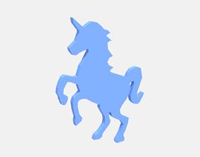 Low Poly Unicorn Silhouette Decorative Object 3D asset