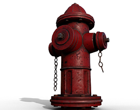 3D asset realtime PBR Fire Hydrant rusty