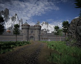 Medieval castle 3D model warrior