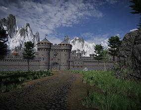 Medieval castle 3D model warrior