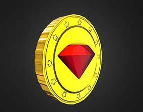 3D model Game-Ready Red Gem Gold Coin Asset