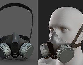 Gas mask helmet 3d model military combat VR / AR ready 3
