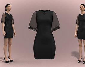 3D model puffy sleeves dress