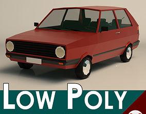 3D asset Low Poly Cartoon City Car 03