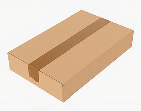Box sealed with packing tape mockup 07 3D