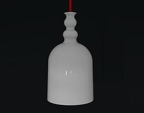 Small white ceramic pendant lamp with red flex 3D model 1