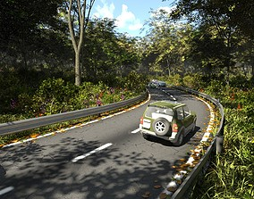 Forest road in Blender 3D