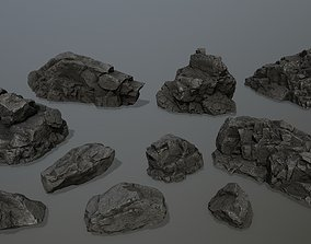 rocks desert 3D model realtime
