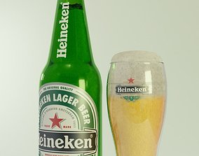 3D heineken beer bottle and glass of beer