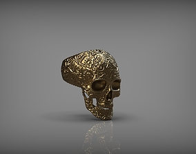 Mexican Skull Ring 3D Print silver