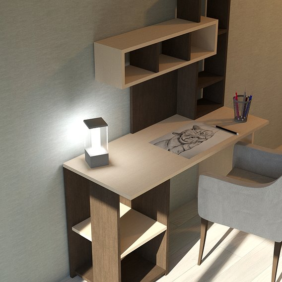 Modern desk in the interior