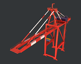 PBR Quayside Container Crane Version 1- Red 3D model