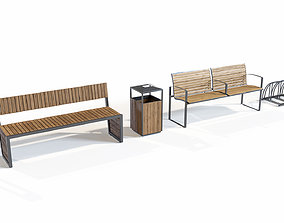 Set of benches with urns and bicycle parking 3D street