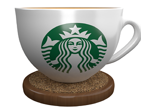 3D StarBuck Cup and Wood Coaster glass