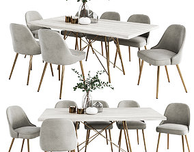 West Elm Dinning Set 3D
