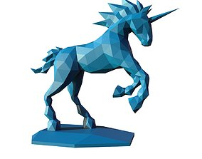 3D print model unicorn low poly pepakura