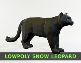 3D model rigged Snow Leopard