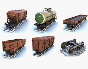 Railroad Cars Set 3D