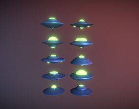 3D model low-poly UFO pack