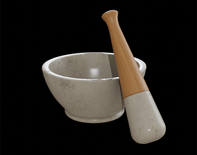 Apothecary Mortar and Pestle white marble 3D asset