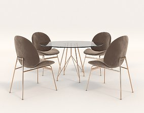 3D asset Contemporary Design Table and Chair Set 6