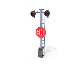 Rail Crossing Traffic Light Weathered 5 3D