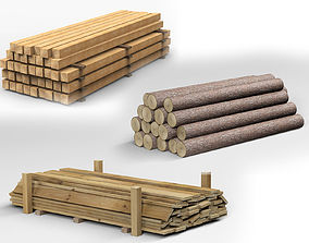 3D Collection of Wooden Planks Beams and Logs