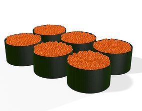 Roe Sushi Japanese Japan Food rolls 3D